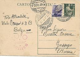 """CARTOLINA POSTALE £2VERDE """"DEMOCRATICA""""BOLLO """"BOLZANO 23-9-47"""" ARRIVO """"GUSSAGO 25-9-47"""".FOTO ATTUALITA`-BOLZANO. - 6. 1946-.. Repubblica"""