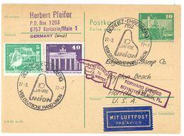 """BOHLITZ-EHRENBERG"" Sonderstempel Postkarte 1977 In Die USA - Lettres & Documents"