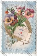 CPA Gauffrée Et à Système Bonne Année : Fleurs, Fer à Cheval, Enveloppe Avec Coeur (noeud En Tissu) - Nouvel An