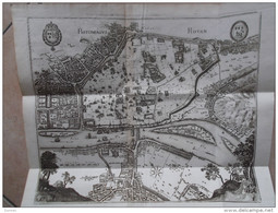 ROUEN , Plan Rotomagus - Rovan, 1655 ( Plan Extrait D'un Livre - Au Dos, Attache De L'onglet ), Feuille 38,8 X 45,8 Cm - Maps