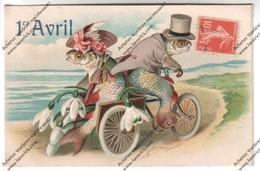 Belle CPA Gauffrée Poisson D'Avril 1908 : Couple De Poissons Humanisés Circulant Sur Triporteur - April Fool's Day