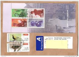 DANIMARCA - 2014 Lettera Prioritaria Per L'estero Con Serie UCCELLI 5v. (3v. Retro) E BF MUSEO POSTALE 4v. - Lettres & Documents