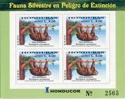 Lote H6, Honduras, 2004, Pliego, Sheet, Fauna En Peligro De Extincion, Oso Peresozo, Fauna In Danger Of Extinction, Bear - Honduras