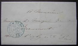 Paris 1853 Cachet Bleu 15 Centimes 5eme Distribution 3h 30, Pour Le Marquis De Beaumont Rue D'Isly - 1849-1876: Période Classique