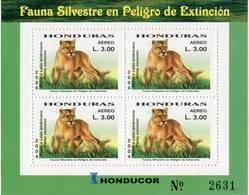 Lote H8, Honduras, 2004, Pliego, Sheet, Fauna En Peligro De Extincion, Puma, Fauna In Danger Of Extinction - Honduras