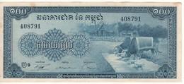 CAMBODIA   100 Riels   P13b       Sign. 12  (ND 1956-72) - Cambodia