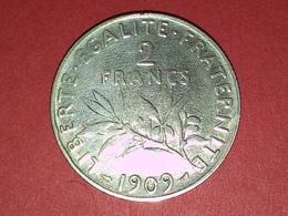 RARE 2 FRANCS ARGENT SEMEUSE  1909  TTB - I. 2 Francs