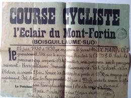 Affiche - Course Cycliste - Boisguillaume-Sud Dépt 76 - Juin 1930 - L'Eclair Mont-Fortin - Affiches