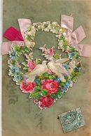 Carte Rodhoid Avec Ajoutis, Colombes, Rubans, Roses - Cartes Postales