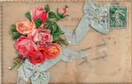 Carte Rodhoid Avec Ajoutis, Rubans, Bouquet De Roses - Postcards