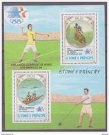 0359 Sao Tome 1983 Olympics 1984 Los Angeles Rowing Horseback Riding S/S MNH - Zomer 1984: Los Angeles