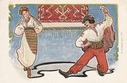 Carte Postale Ancienne Illustrée Par Wilhelm Wachtel - Vers 1900 - Couple - Folklore Des Pays De L'Est - Illustrateurs & Photographes