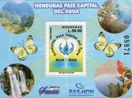 Lote H9, Honduras, 2004, HF, SS, Honduras Pais Capital Del Agua, Water Fall, Butterfly - Honduras