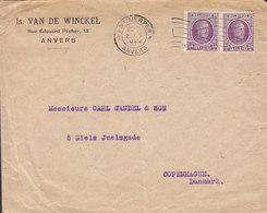 Belgium IS. VAN DE WINCKEL, TMS Cds. ANVERS 1922 Cover Lettre KØBENHAVN K. (Arr. TMS. Cds.) - Belgien