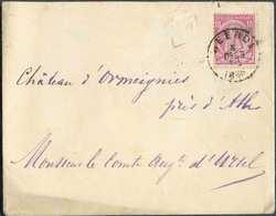 N°46 - 10 Centimes Carmin Obl. Sc WEERDE Sur Enveloppe Du 6 Déc. 1885 + Boîte Rurale (parallélogramme) Vers Ormeignies. - 1884-1891 Léopold II