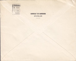 Belgium CONSULAT DE DANEMARK, BRUXELLES 1936 Cover Lettre Udenrigsministeriet FOREIGN MINISTERY Denmark 1.75 Fr. Albert - Belgien