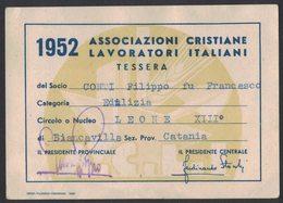 BU230     Tessera ACLI Associazione Italiane Lavoratori Italiani 1952 - Organizzazioni