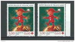 """FR YT 3199 & 3199a """" Croix-Rouge, 2 Dents """" 1998 Neuf** - Ongebruikt"""