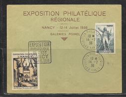 LOT 1901050 - N° 314 SUR LETTRE DE NANCY DU 14/07/36 - DAGUIN - VIGNETTE EXPOSITION DE 12 Au 14 JUILLET 36 - Poststempel (Briefe)