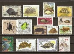 Tortues - Petit Lot De 15 Timbres° - Dermochelys Coriacae - Geometric - Eretmochelys Imbricata - Emys Orbicularis - Luth - Timbres