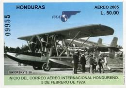 Lote H10, Honduras, 2005, HF, SS, Inicio Del Correo Aereo Internacional Hondureño, Airplane - Honduras
