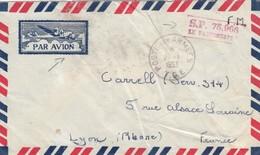 LETTRE . 1953. POSTE AUX ARMEES T.O.E.  PAR AVION POUR LYON. SP 75.966 / 3 - 1921-1960: Modern Period