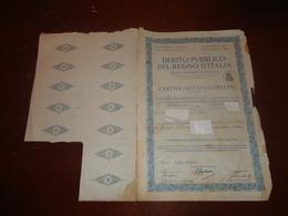 CERTIFICATO DEBITO PUBBLICO CON 12 RICEVUTE -1934 - Banca & Assicurazione