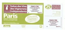 Invitation Valant Ticket D'entrée Salon Des Vins Des Vignerons Indépendants - Paris Espace Porte De Champerret - 2018 - Tickets - Entradas