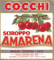 """D8971 """"SCIROPPO - AMARENA - COCCHI - GIULIO COCCHI - ASTI - 1930 CIRCA""""  ETICHETTA ORIGINALE - Frutta E Verdura"""