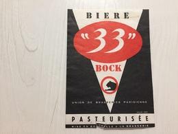 Ancienne Étiquette 1.1 BIÈRE 33 BOCK UNION DE BRASSERIE PARISIENNE - Bière