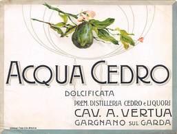 """D8972 """"SCIROPPO - ACQUA CEDRO  DOLCIFICATA - CAV. A. VERTUA - GARGANO SUL GARDA - 1920 CIRCA""""  ETICHETTA ORIGINALE - Frutta E Verdura"""