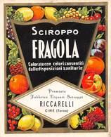 """D8973 """"SCIROPPO FRAGOLA  - RICCARELLI - CIRIE - (TORINO) - 1930 CIRCA""""  ETICHETTA ORIGINALE - Frutta E Verdura"""