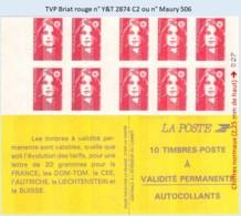 FRANCE - Carnet TVP Briat Rouge - YT 2874 C2 / Maury 506 - Carnets
