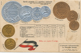 Embossed Card La Nouvelle Guinée Gold And Silver Coins Embossed - Papua New Guinea
