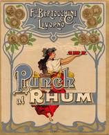 "D8974 ""PUNCH AL RHUM - F. CO. BERTOCCHINI & LIVORNO - 1920 CIRCA""  ETICHETTA ORIGINALE - Rhum"