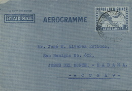 Aerogramme Sent From Madang To Cuba   1953 - Papouasie-Nouvelle-Guinée