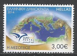 Greece 2014. Scott #2643 (U) Euromed Postal Emblem And Mediterranean Sea ** - Grèce