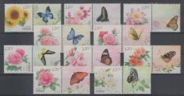 China (2011)  - Set -  /  Mariposas - Butterflies - Papillons - Fleurs - Flowers - Insect - Vlinders