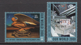 """2000 UN New York World """"Our World"""" Winning Artwork In Competition Set Of 2  MNH - New York – UN Headquarters"""