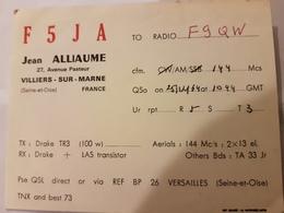 CARTE QSL RADIO AMATEUR FRANCE VILLIERS SUR MARNE SEINE ET OISE - Radio Amateur