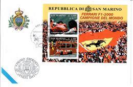 SAN MARINO 2001 - FERRARI CAMPIONE DEL MONDO - FOGLIETTO   - FDC - FDC