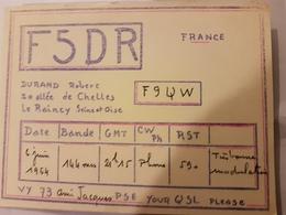 CARTE QSL RADIO AMATEUR FRANCE LE RAINCY SEINE ET OISE 1964 - Radio Amateur