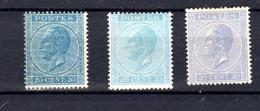 1865-66   Belgique, Léopold 1er, 18 *(3 Couleurs), Cote 880 € - 1865-1866 Profile Left