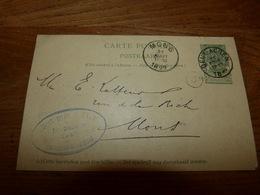 Entier Postal Carte Publicité Cachet  Marcophilie Mons Deux Acren 1899 Herboriste Louisdeanscutter - Publicité