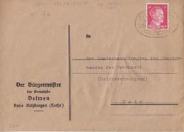 Lettre Mairie De Delme Obl. Ambulant (T369 Metz-Salzbourg A Zug 2812) Sur TP Reich 12pf Le 12/12/43 Pour Metz - Alsace-Lorraine