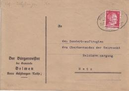 Lettre Mairie De Delme Obl. Ambulant (T369 Metz-Salzbourg A Zug 2512) Sur TP Reich 12pf Le 30/3/42 Pour Metz - Alsace-Lorraine