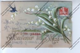 CPA En Celluloïd Souvenir De Mai : Bouquet De Muguet Avec Hirondelle - Fêtes - Voeux