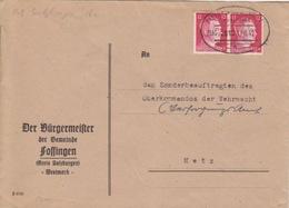 Lettre Mairie De Fossingen Obl. Ambulant (T369 Metz-Salzbourg A Zug 2812) Sur TP Reich 12pfx2 Le 12/6/42 Pour Metz - Alsace-Lorraine