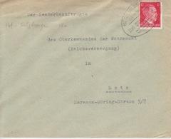 Lettre Obl. Ambulant (T369 Metz-Salzbourg A Zug 2815) Sur TP Reich 12pf Le 21/1/43 Pour Metz - Alsace-Lorraine