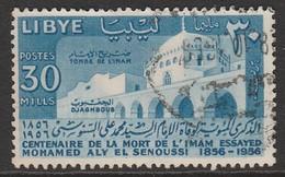 Libya 1956 The 100th Anniversary Of The Death Of Imam Essayed Mohamed Aly El Senussi 30 M Blue SW 74 O Used - Libya